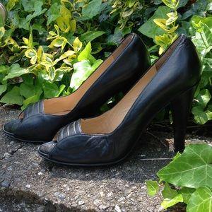 Vintage Genuine Leather Peep Toe Heels 6